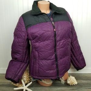 LL Bean purple puffer down zipper jacket Sz L
